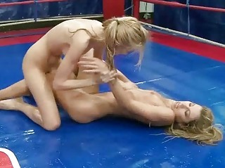 Hot oiled blondes fighting
