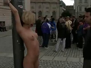 Blond bound and stripped in public