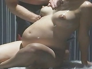 Pregnant Blonde Doxy Oiled Up B...