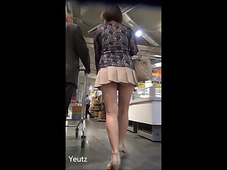 Asian MILF with a VERY SHORT SKIRT + Upskirt - NO Pants