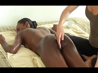 Massage on bed for black beauty