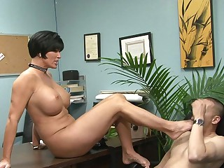 Milf school principal having a foot fetish in her office