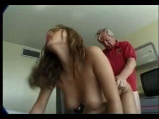 Old man copulates hot maid