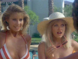 Retro Babes Barbara Crampton and Kathleen Kinmont Flirting In Bikinis