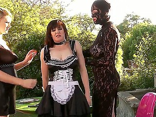 Three BDSM bitches Ruby Rubber, Samantha Bentley and Tegan Jane having rude lesbian thrall fuck outdoor!