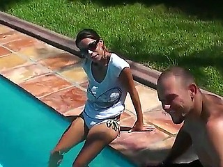 Enjoy delicious delicious brunette chick Jasmine and her friend Jmac having fun in a pool