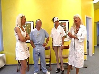 Hot blonde nurse acquires it on with an old dirty doctor on the floor