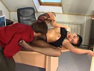 Laura&Morris red hot nylon footsex