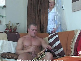 Golden-Haired mommy spying on a wanking stud in advance of mad booty fisting and dicking
