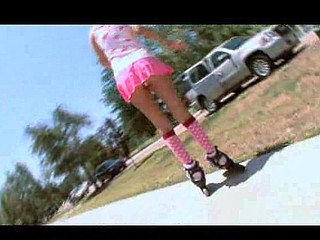 Roller Gal Acquires Banged in her skates!