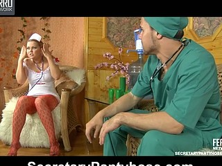 Curvy nurse getting her slit eaten and rammed thru red patterned tights