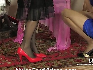 Dolly&Joanna lewd nylon feet action