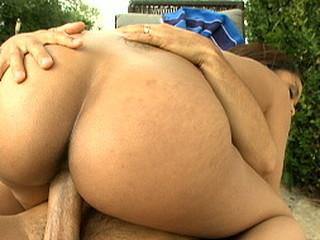 Jaslin rides that pecker as her huge gazoo bounces around.