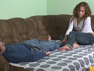 Pull out bed worn out by 2 horny legal age teenager sluts and a guy