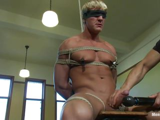 bound muscled golden-haired gay receives his treatment