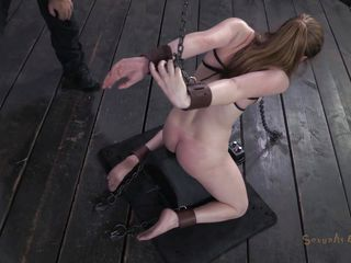 knelt white chick dominated by a darksome rod