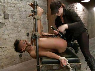 black dildo on a bound black slut