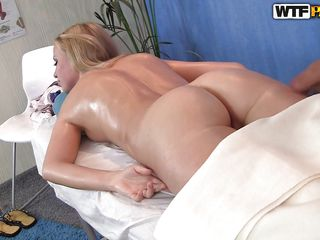 milky white blonde with a sexy oiled booty