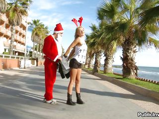 Hot blonde teen Ivana is a cute reindeer and Santa Claus comes and wants to take her for a ride with his hard cock. She starts stripping and showing her taut body to Santa because she wants to get a large present. He takes the floozy away and she sucks his dick with much enjoyment sitting on her knees!
