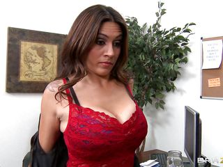 Raylene is one concupiscent brunette. And this MILF got herself a darksome cock this time. So no matter what, this hungry Latina won't let it go. Slowly stripping, this MILF trapped the darksome man with her big boobs. And drooling guy started to bite and kiss her hard nipples. And in a short time that babe got the dick in her hands for giving it a blowjob!