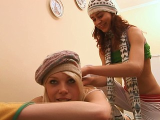 Two naughty and petite lesbians are satisfying every other indoors