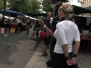 Public torment for blonde slut in leash