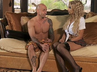 See the upskirt fucking where babe with large tits is riding on cock