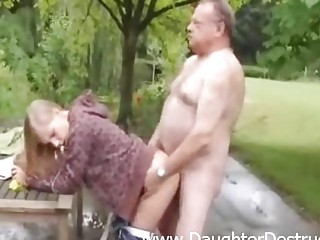 Cute angel fucked by old dirty stud