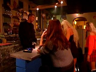 Horny guy forces two girls for some hot sadomasochism scenes in a bar