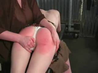 Female to young girl otk spanking red bottom lots of tear