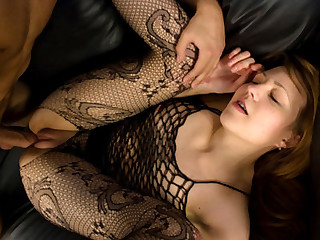Nasty inside fishnet made love
