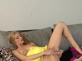 Cayenne Klein entertains us today, starting off inside the flowing yellow dress and matching yellow lace panties. Down comes the frock so we is able to watch her 38A titties, and she pulls her underpant