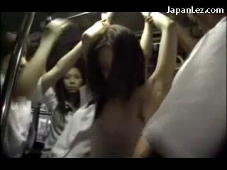 Girl In White Costume Rapped Getting Her Pussy Fingered By Many Cuties On The Bus