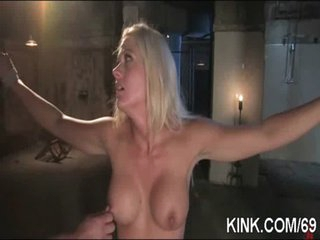 Hot pretty girl cums and cries in 3some BDSM sex