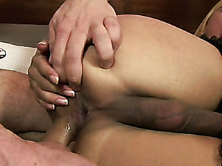 Sexy lady-dude tastes male juice