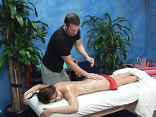 It is very easy to understand that this gal came to massage saloon not to receive massage but to be fucked well by pretty male masseur. Just take a glance at how that babe seduces him to have wonderful screwing.