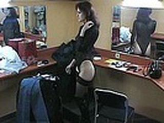 Everpresent spy camera which is situated in the make-up room this time films luscious dark brown stripping her high boots and nylons and changing into tight jeans which add tasty curves to her slim body!