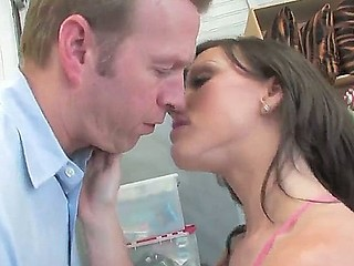 Horny babysitter Jennifer White gets hard pounded in all of her holes by naughty dad